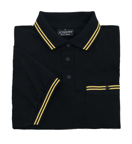 Black polo shirt with yellow trim and button down breast pocket, made in England.