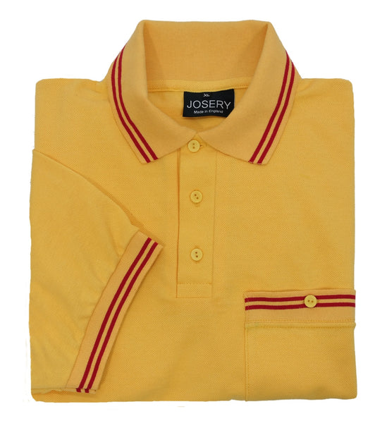 Yellow pocket polo shirt with red trim