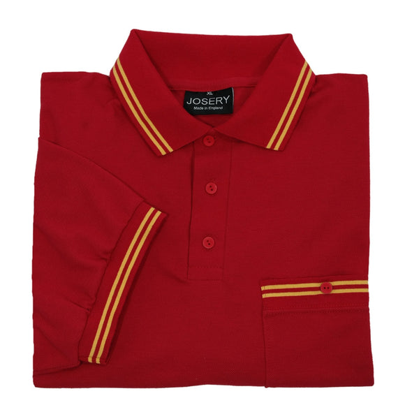 Red chest pocket polo shirt with yellow trim