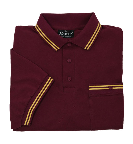 Burgundy breast pocket polo shirt with yellow trim