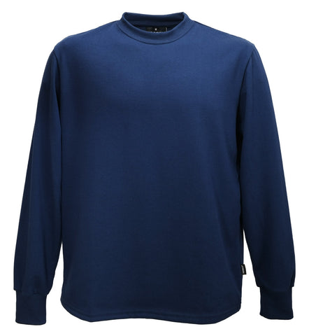 Long sleeve cotton t-shirt navy blue. Made in England