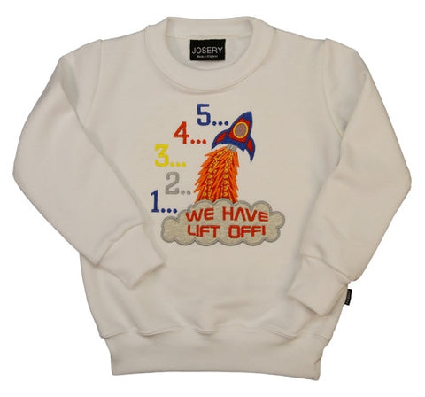 Kids sweatshirt with space rocket design, five four, three...