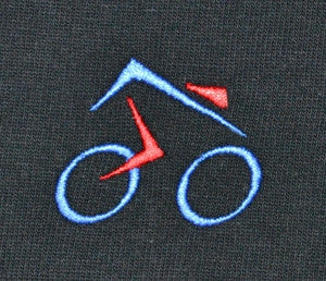 black T-shirt with cycling design made in England