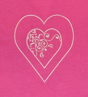 J302 Women's Long Sleeve T-Shirt with Embroidered Pink Heart Design 22Q/08
