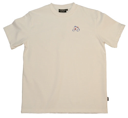 white T-shirt with cycling design made in England