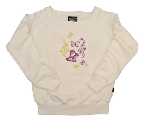 J101 Womens wide neckline sweatshirt With Detailed Butterfly Embroidered Design 22J/02