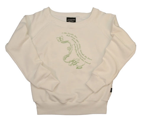 J101 Womens wide neckline sweatshirt With Embroidered Bumble Lime Design 23A/14