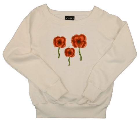 Women's white sweatshirt with embroidered poppy design.  Made in England.