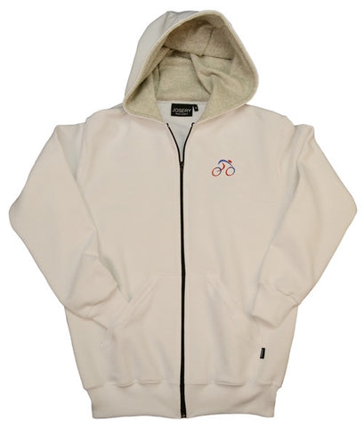 white zip hoodie with cycling design made in England