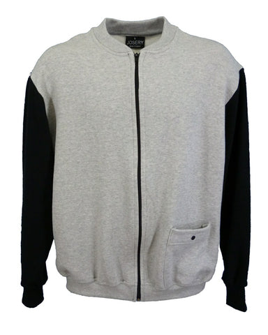 Men's zip up top, grey marl with black contrast sleeves and single pocket