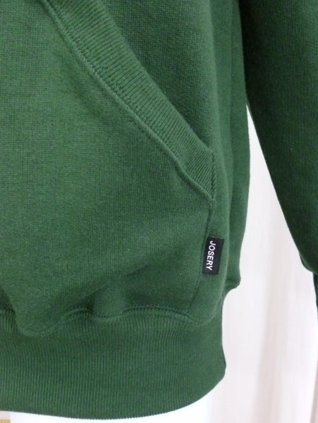 dark green hoodie, pocket tag detail