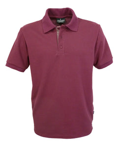 Burgundy polo shirt with patterned lower placket, Made in England