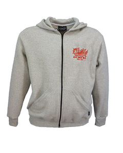 Zip hoodie with embroidered Welsh dragon designs.