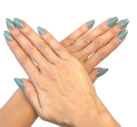 """Blue Grey"" Oval Nails"