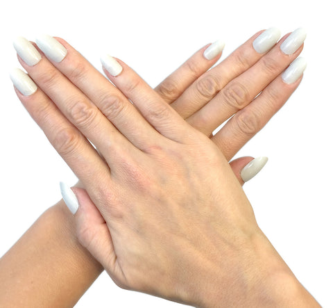 """Light Grey"" Oval Nails"