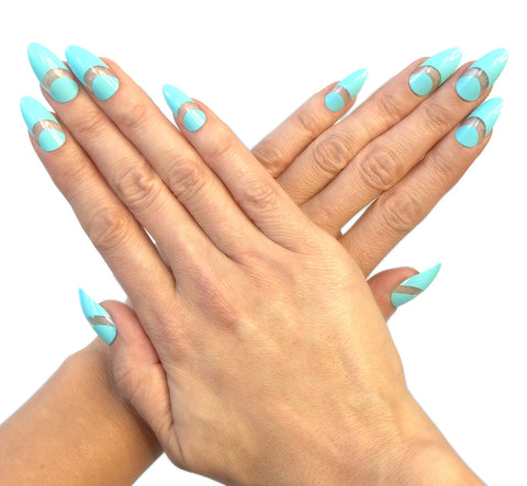 """Samantha Aqua"" Stiletto Nails"