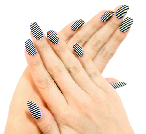 """Sassy Stripes"" Oval Nails"