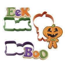Wilton Trick-Or-Treat Pumpkin-Head Boy, Boo, and Eek Colored Metal Cookie Cutter Set