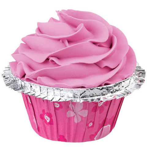 FLORAL PINK DOUBLE RUFFLE COLORCUP BAKING CUP 12ct