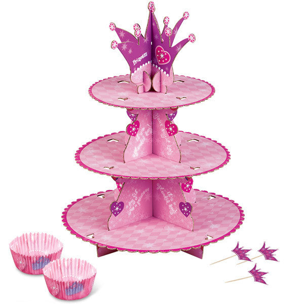 Wilton Cupcake Stand Kit Princess (Stand Kit/24Baking Cups/24 Pix)