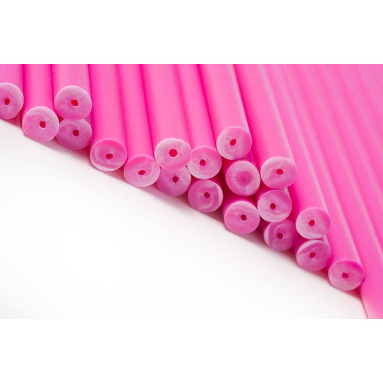 Lollipop Stick Plastic 190mm Pink (50pcs)