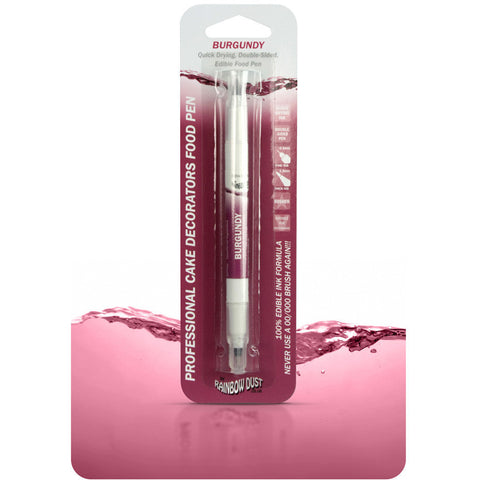 Rainbow Dust Edible Food Pen Burgundy (Double sided)
