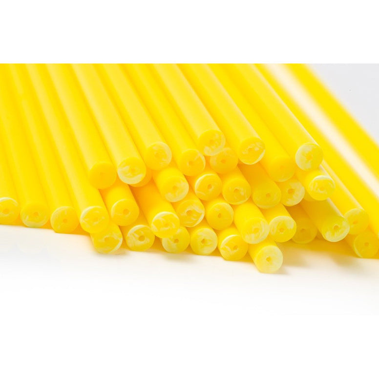 Lollipop Stick Plastic 150mm Yellow (50pcs)