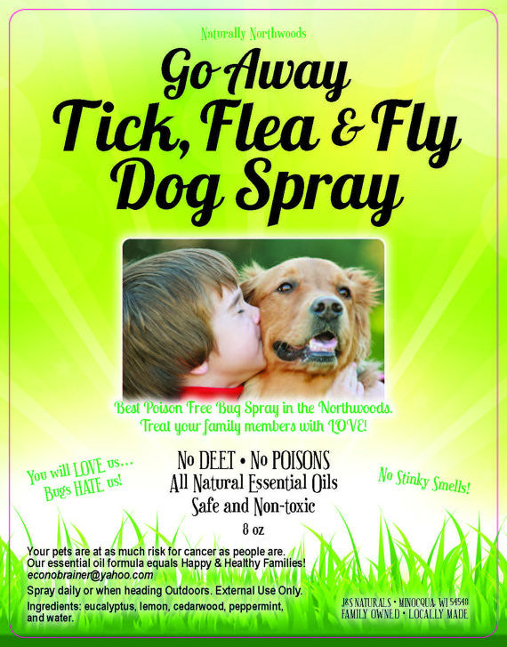 Voted #1 Best Selling 8 oz DOG Go Away Tick, Mosquito, Fleas and Flies Bug Spray No Deet