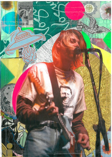 André Boitard Kurt Cobain Collage Artwork Original A6 Black Power
