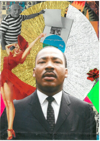 André Boitard Martin Luther King Collage Artwork Original A6 Black Power