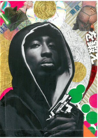 Andre Boitard Tupac Shakur Collage Artwork Original A6 Hip Hop