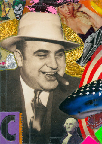 André Boitard Al Capone Collage Artwork Original A6 Mobster
