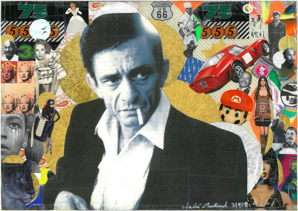 André Boitard Johnny Cash Collage Artwork Original popart