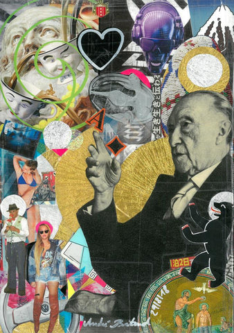 André Boitard Adenauer last interview Collage Artwork Original popart