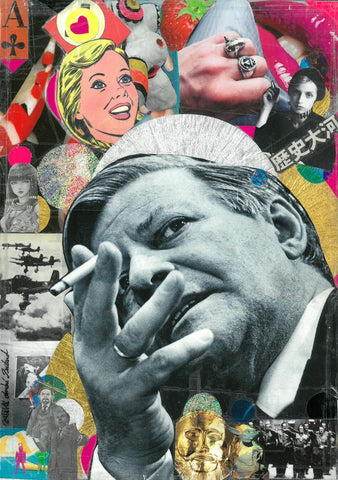 André Boitard Helmut Schmidt Collage Artwork Original popart