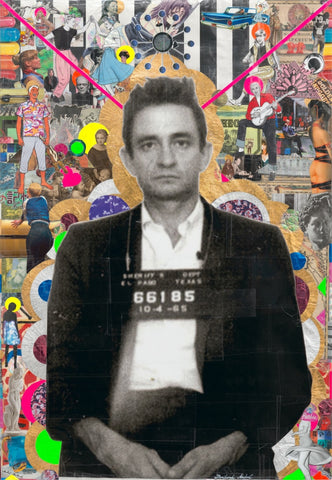 André Boitard Johnny Cash Collage Artwork Original