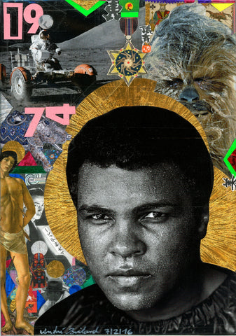 André Boitard Muhammad Ali Collage Original Artwork A4