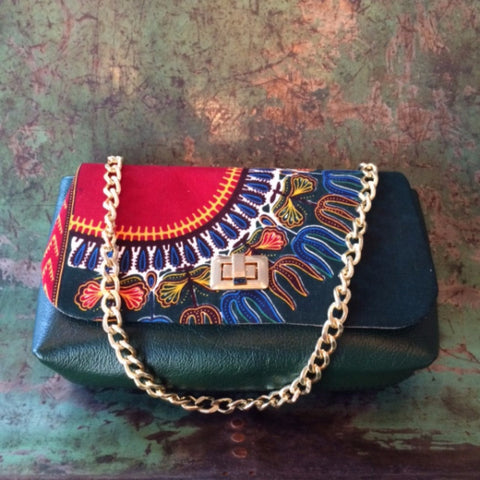 POCHETTE GREEN LEATHER & AFRICAN STYLE