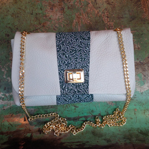 PRICE ECO DESIGN POCHETTE GREY LEATHER & SILK - Soul Objects, a SoulExperience!