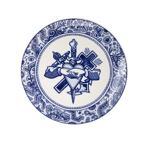 Royal_Delft_Henk_Schiffmacher_Teller_Sailor´s_Grave_Blue_Tattoo_Porcelain