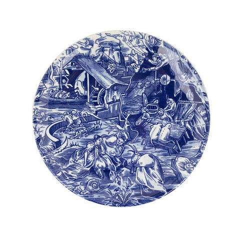 Royal_Delft_Henk_Schiffmacher_Teller_Tribute_to_Jeroern_Bosch_Royal_Blue_Tattoo_Porcelain