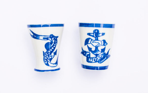By Mutti Tattoed Porcelain Joy Becher old school sailor