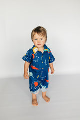 Collared Onesie - Navy Safari