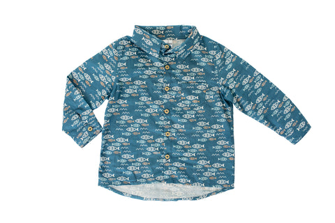 Long Sleeve Collared Shirt - Fish