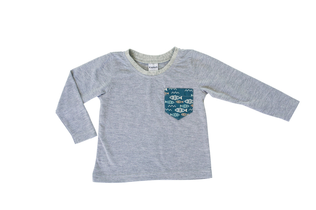Boys Long Sleeve T-shirt - Fish Pockets