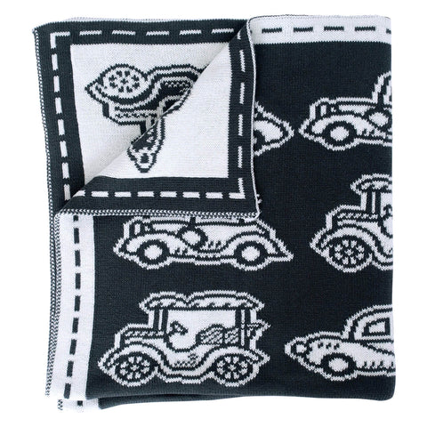Cotton Blanket - Charcoal Cars