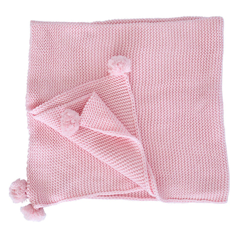 Chunky Knit Blanket - Pink with Pom Poms
