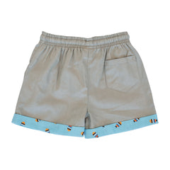 Boys Shorts - Grey with Fish turn up