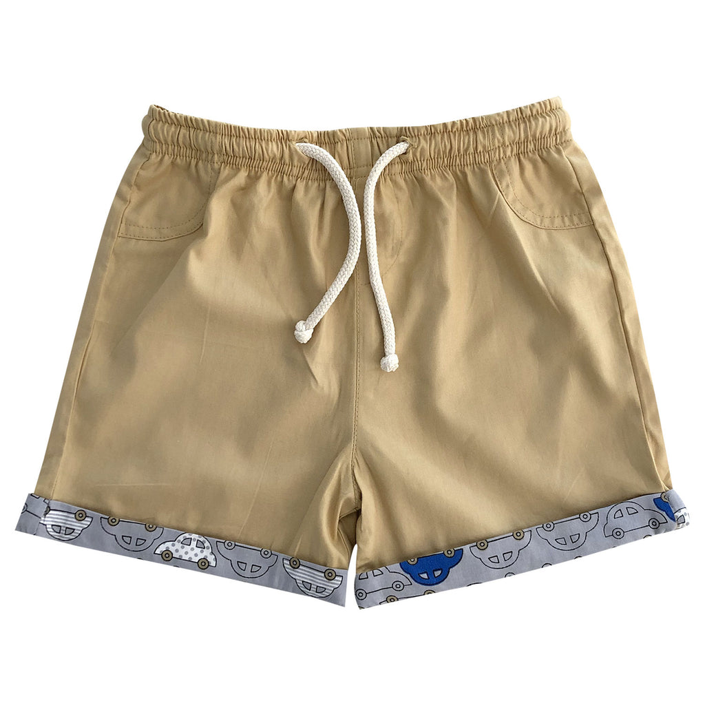 Boys Shorts - Khaki with Car turn up