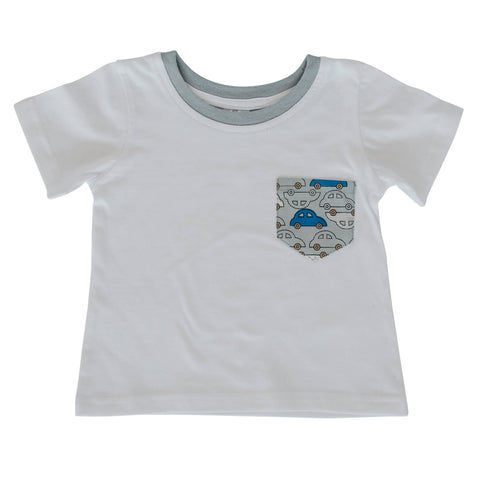 Boys T-Shirt - White with Car pocket